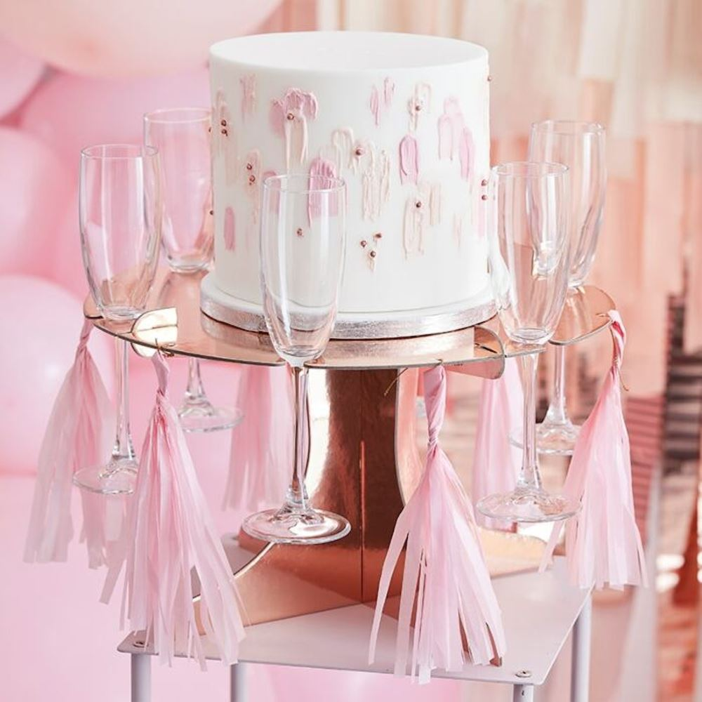 Rose Gold Treat Stand - Cake and Drink Stand With Tassels