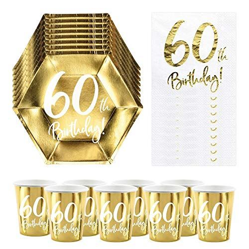 60th Birthday Party Pack   6 Gold Plates   6 Gold Paper Cups   20 Paper Napkins