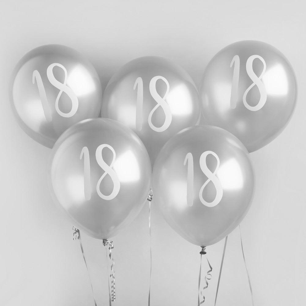 Silver 18 Birthday Party Balloons x 5 - 18th Birthday