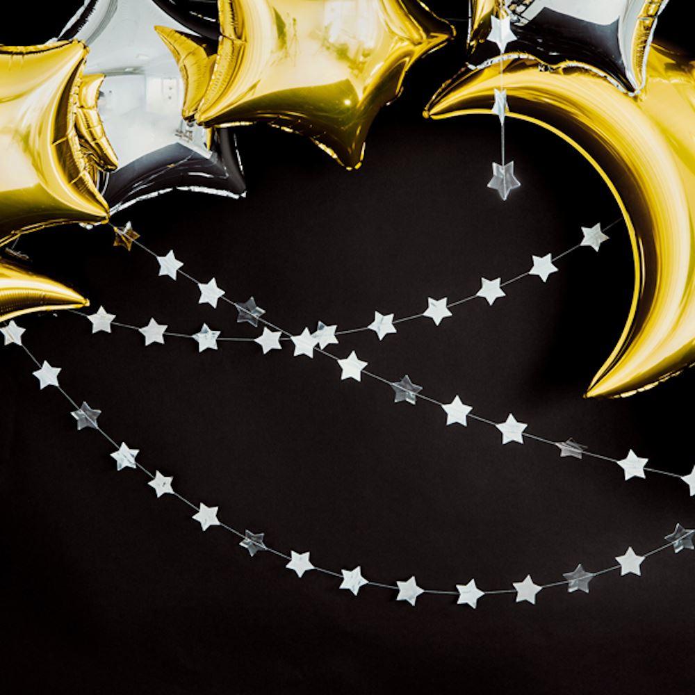 Silver Star Party Garland - Christmas Birthday Wedding 3.6M