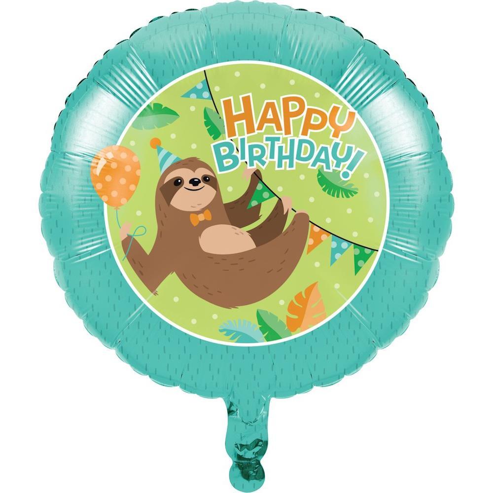 Sloth Foil Happy Birthday Party Balloon