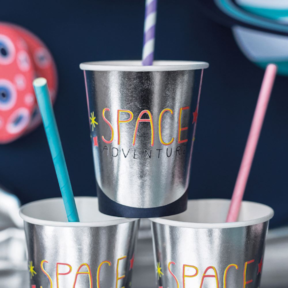6 Space Party Cups, Astronaut Party, Rocket Party, Space Party Decorations, Space Birthday Party, Children's Space Party