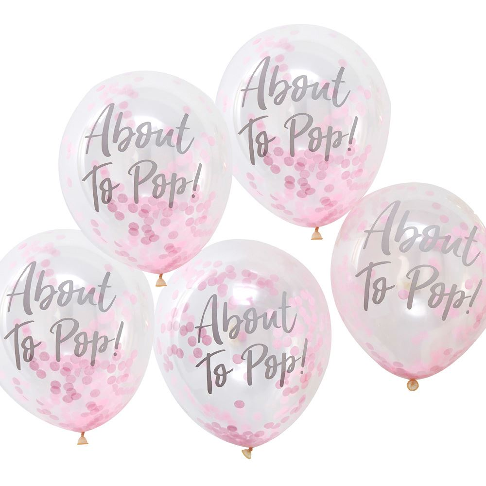 5 Pink Confetti About To Pop Balloons, Baby Shower Balloons, Gender Reveal Balloons, Baby Shower Decorations, Girl Baby Shower Decor