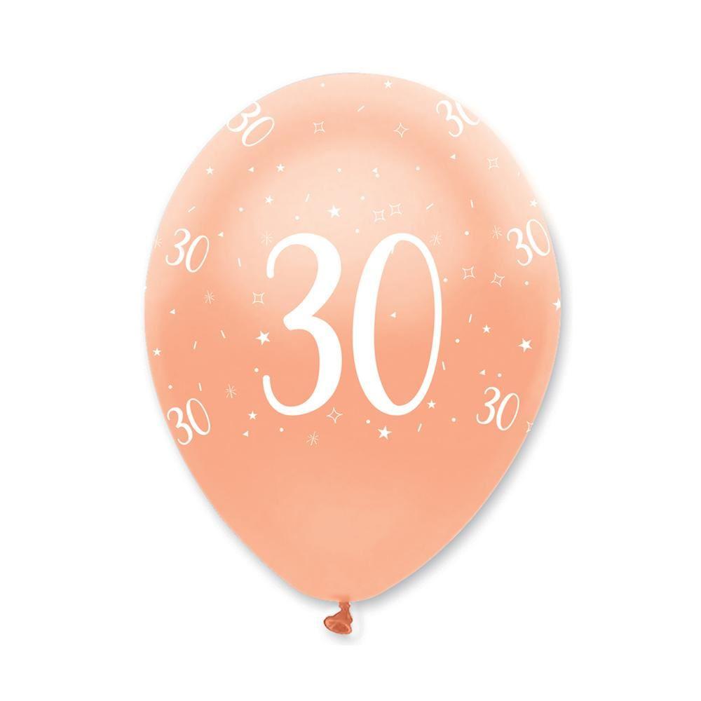 Rose Gold Age 30 Birthday Balloons x 6