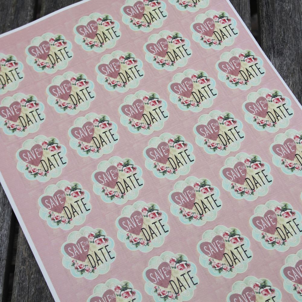 35 Save The Date Pink Floral Stickers, Wedding Invitations Seals, Engagement Card, Birthday Party Save The Dates, Baby Shower Party Stickers
