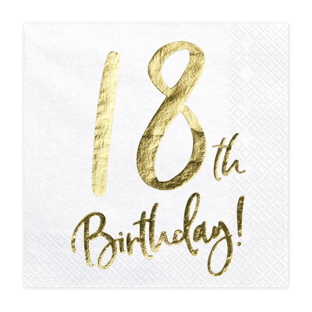 18th Birthday Party Napkins, 18th Birthday Gold Decorations, 18th Birthday Napkins, Eighteenth Birthday Party Napkins, 18 Party Decorations