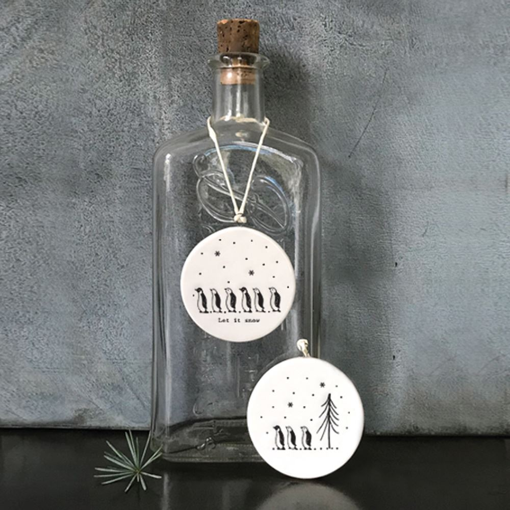 East-of-India-Flat-Christmas-Bauble-hanging-decoration-porcelain-gifts thumbnail 19
