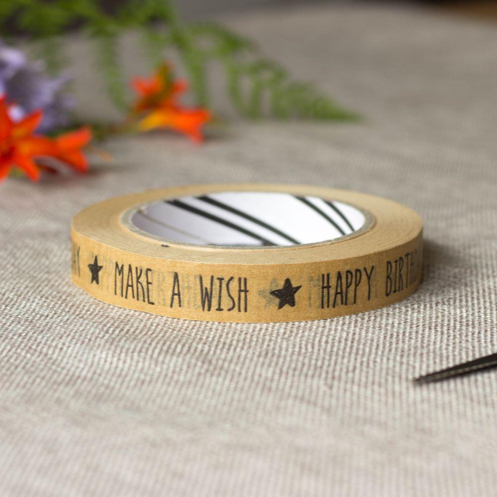 Eco Friendly Happy Birthday Make a Wish Kraft Wrapping Tape 50m