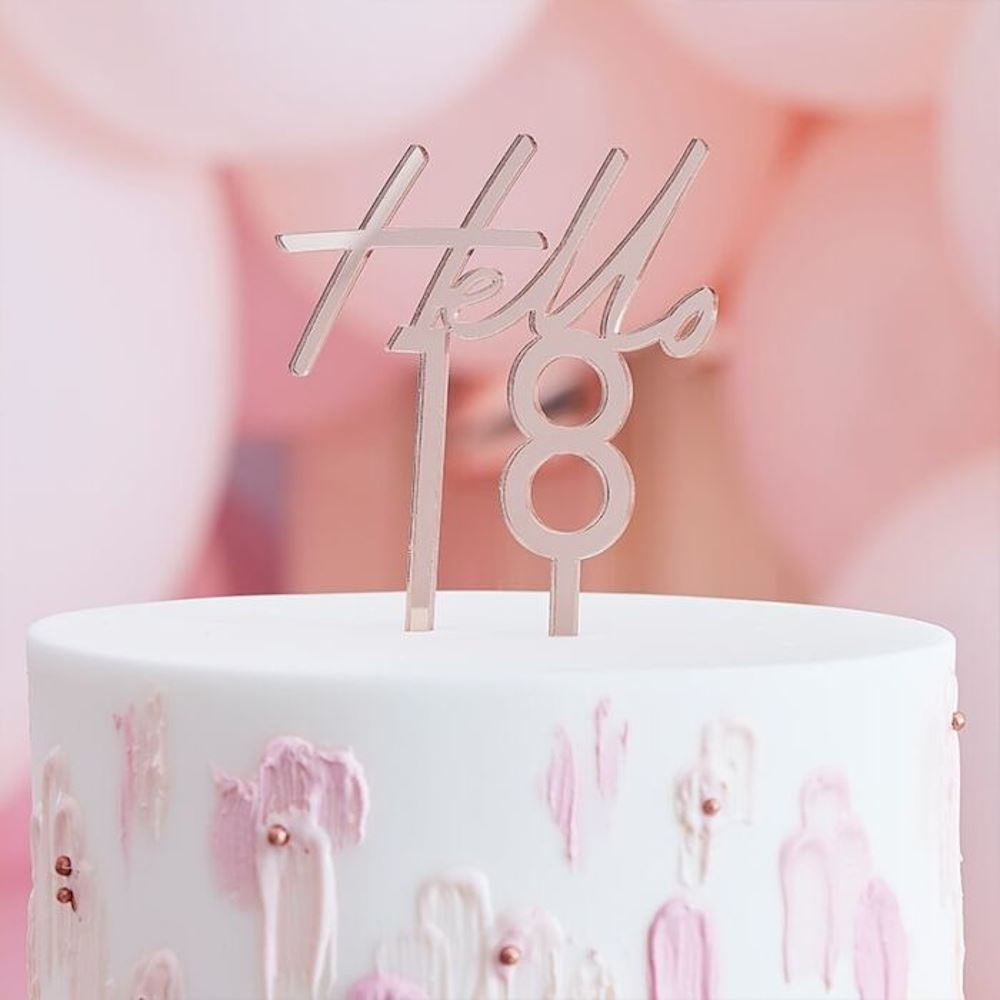 Rose Gold Cake Topper - Hello 18 - 18th Birthday Party