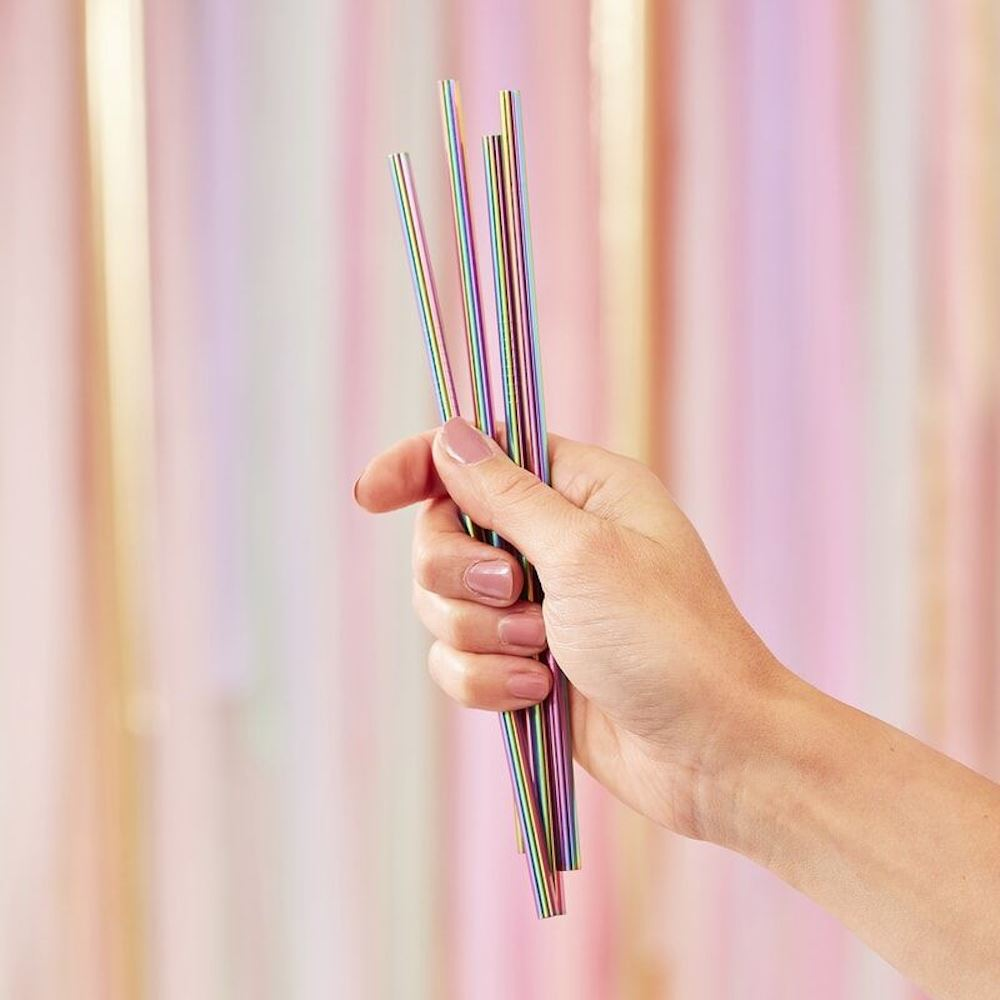 Reusable Rainbow Stainless Steel Metal Straws x 5