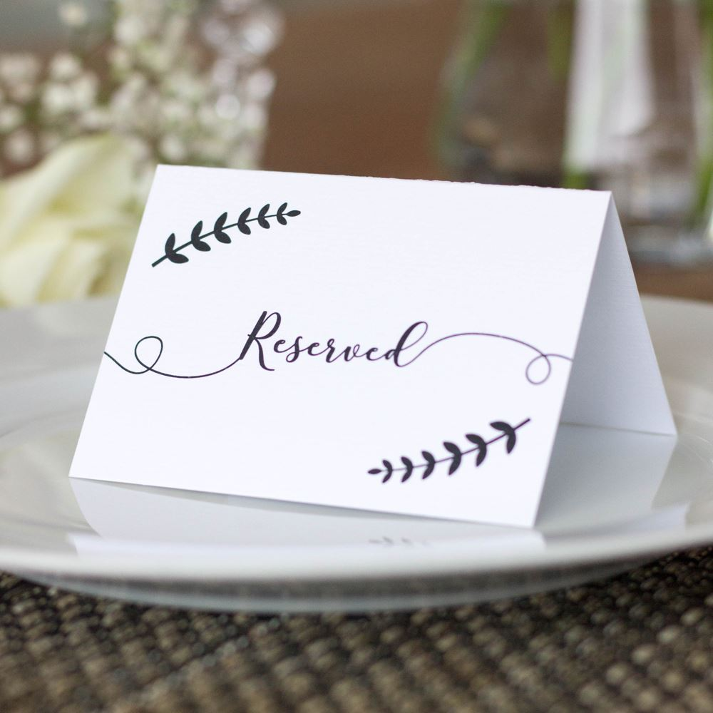 Reserved Sign Small x 4 Wreath Leaf Cards Wedding Events Black and White