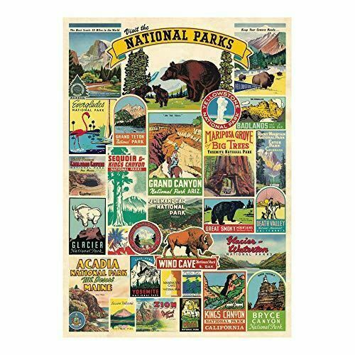 Cavallini National Parks Poster, Retro Wall Art Print, Craft Poster, Decoupage, Luxury Wrapping Sheet, Vintage Wall Decoration