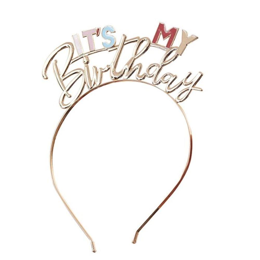 Gold Metal 'It's My Birthday' Headband, Pastel Birthday Tiara, Gold Birthday, Gold Party, Birthday Girl, Birthday Gift, Zoom Birthday Party