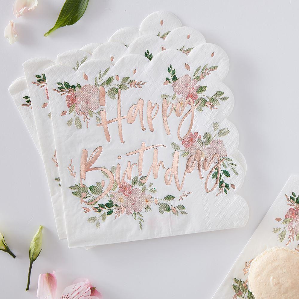 Happy Birthday Floral Ditsy Napkins x 16 - Partyware - Tableware