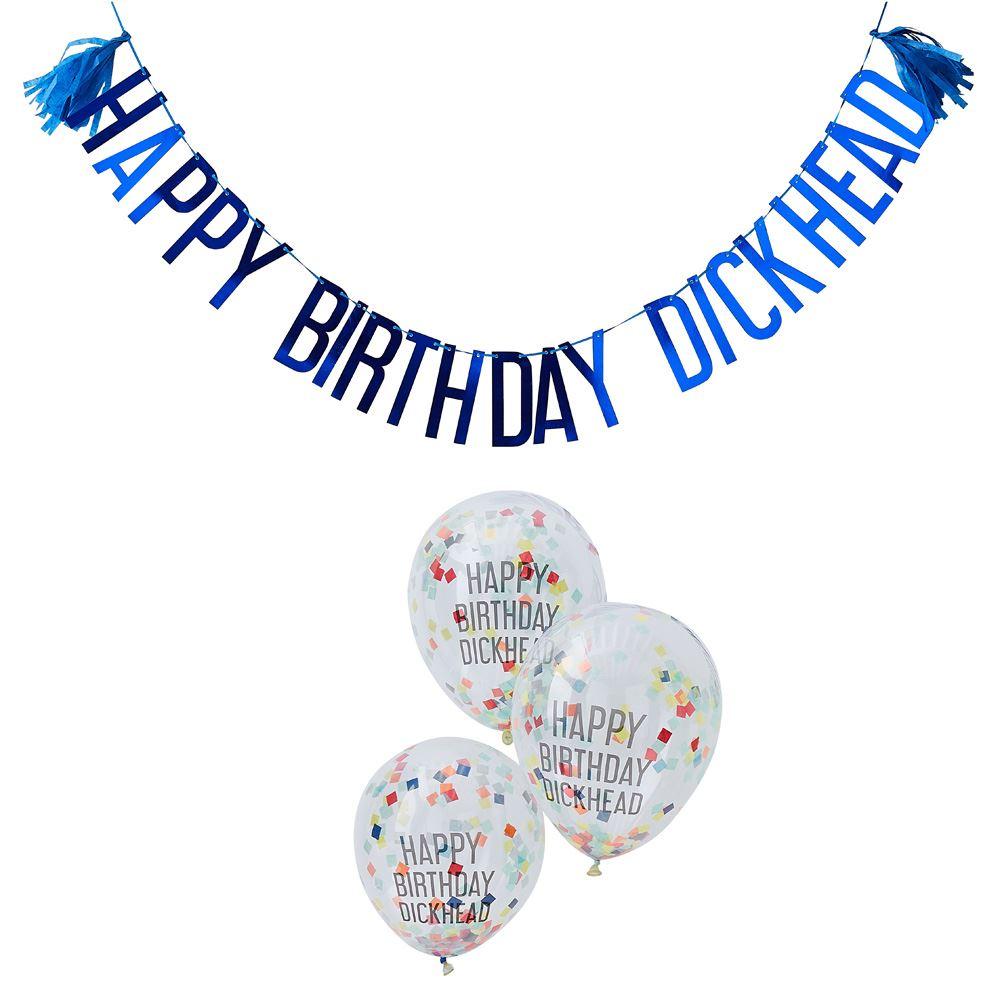 Naughty Party 'Happy Birthday Dickhead' & Balloons x 5