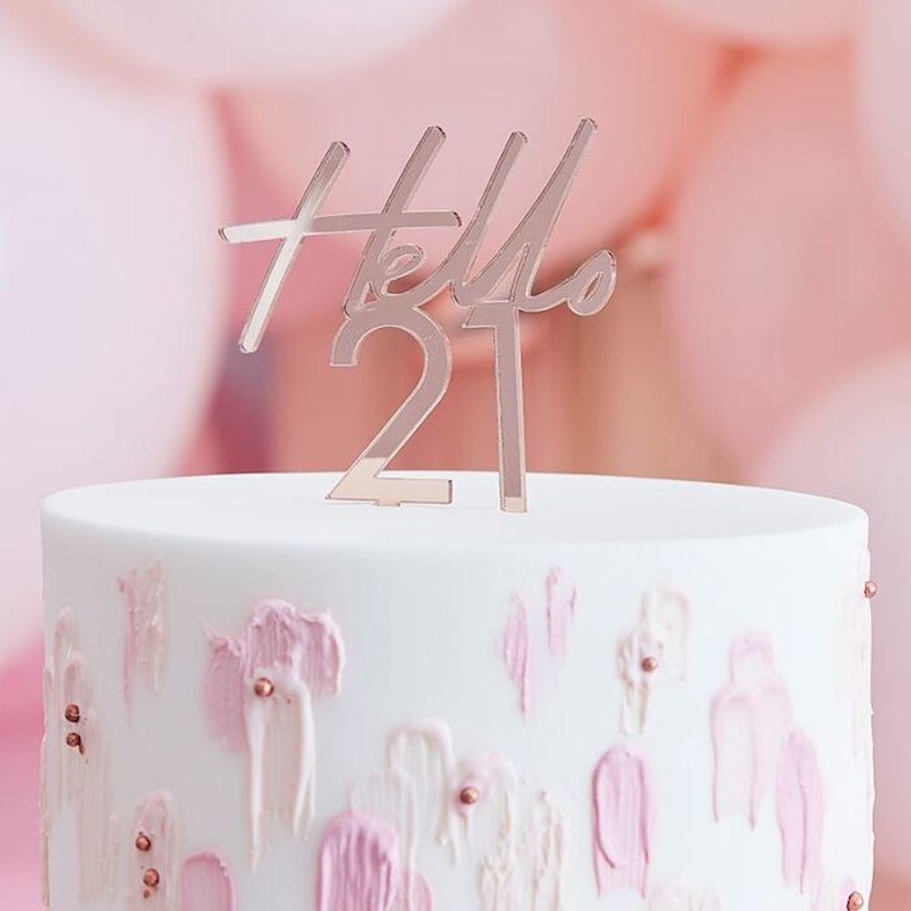 Rose Gold Cake Topper - Hello 21 - 21st Birthday