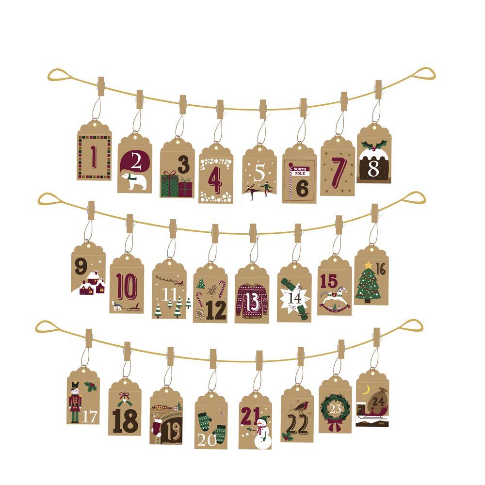 hanging envelope advent calendar envelopes x 24 pegs gold string make your own