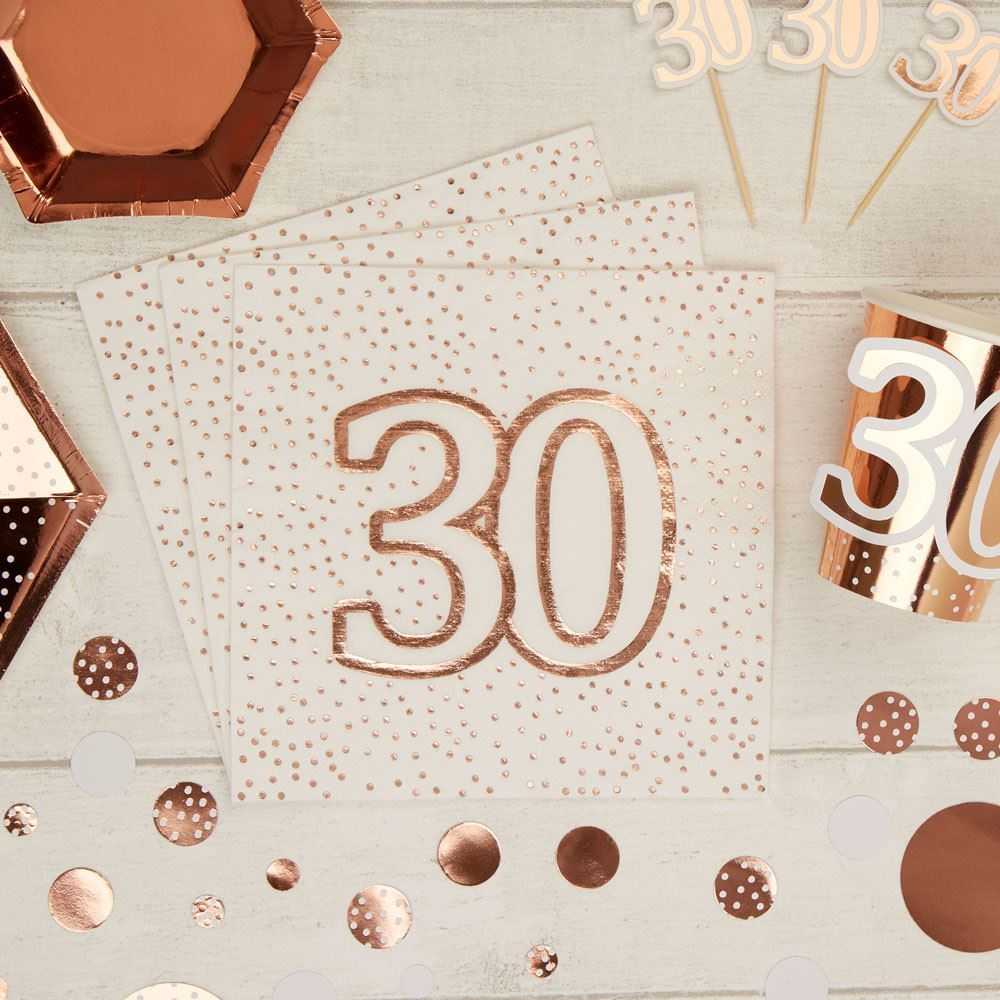 Rose Gold Spotty 30th Birthday Paper Party Napkins x 16 - 3ply