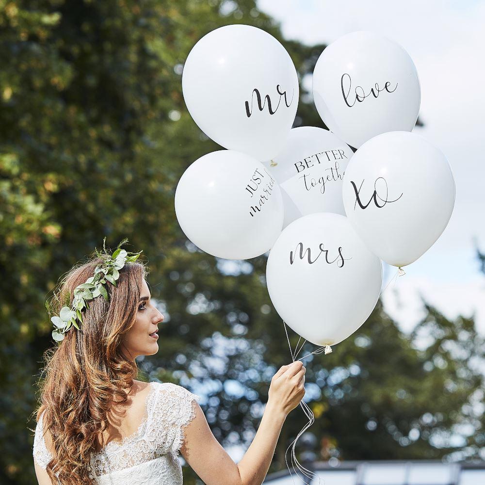 6 White Wedding Balloons, Botanical Wedding Decor, Wedding Party Balloons, Wedding Photo Props, Wedding Backdrop, Mr Mrs Balloons
