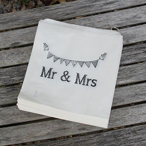 White Paper Bags 'Mr And Mrs' Bag x 90 - Wedding Favour