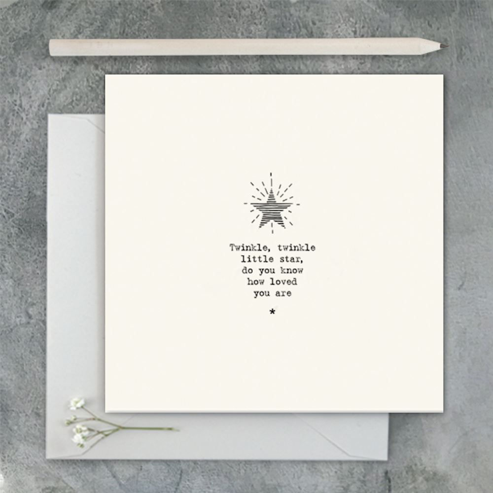 East of India Square Card New Baby Card Twinkle Twinkle Little Star