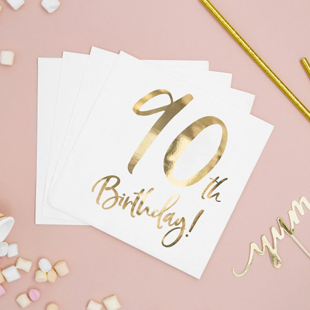 20 Gold 90th Birthday Paper Napkins, 90th Party Napkins, Gold Ninetieth Birthday Napkins, Milestone Birthday Napkin, Gold Birthday Tableware
