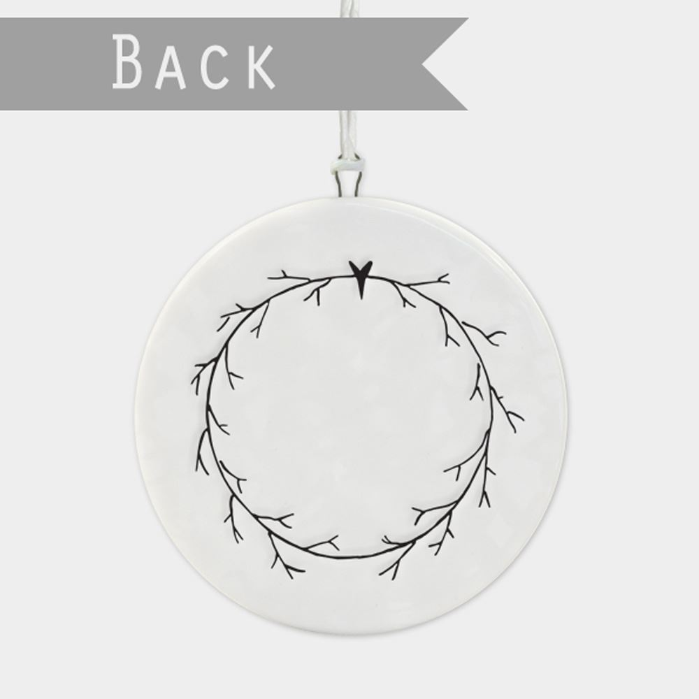 East-of-India-Flat-Christmas-Bauble-hanging-decoration-porcelain-gifts thumbnail 10