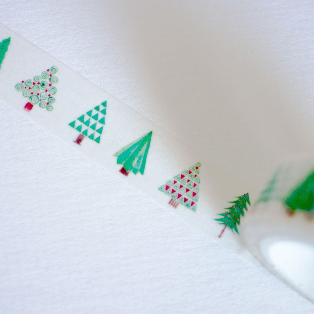 Green Christmas Tree Washi MASKING TAPE 10M Scrapbooking Xmas Craft