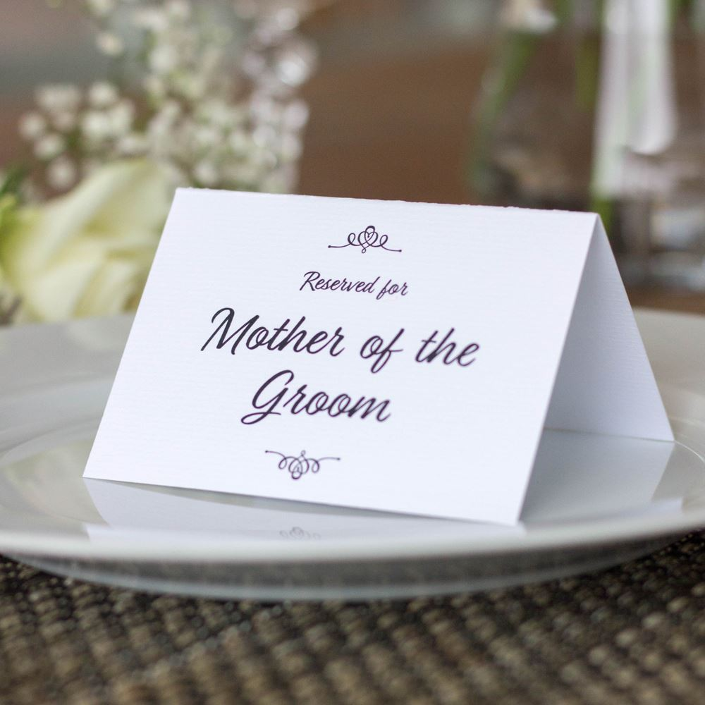 Reserved Wedding Card Set of 4 Mother of Bride Groom Family WHITE TRADITIONAL