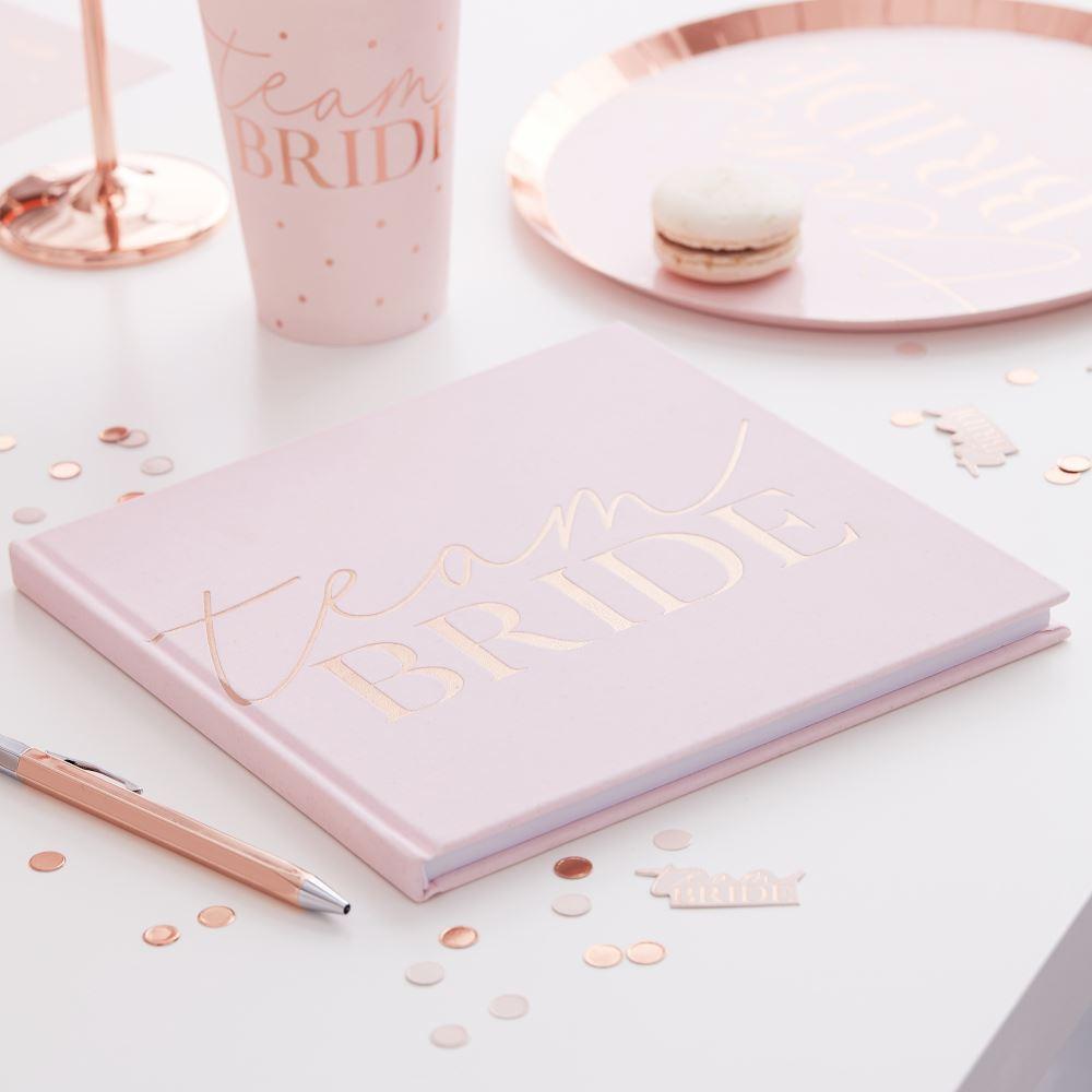 Pink Blush Velvet Team Bride Hen Party Keepsake Guest Book