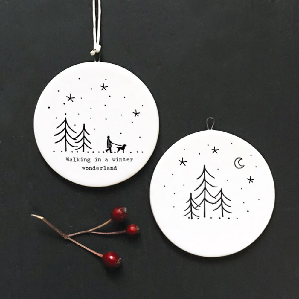 East-of-India-Flat-Christmas-Bauble-hanging-decoration-porcelain-gifts thumbnail 32