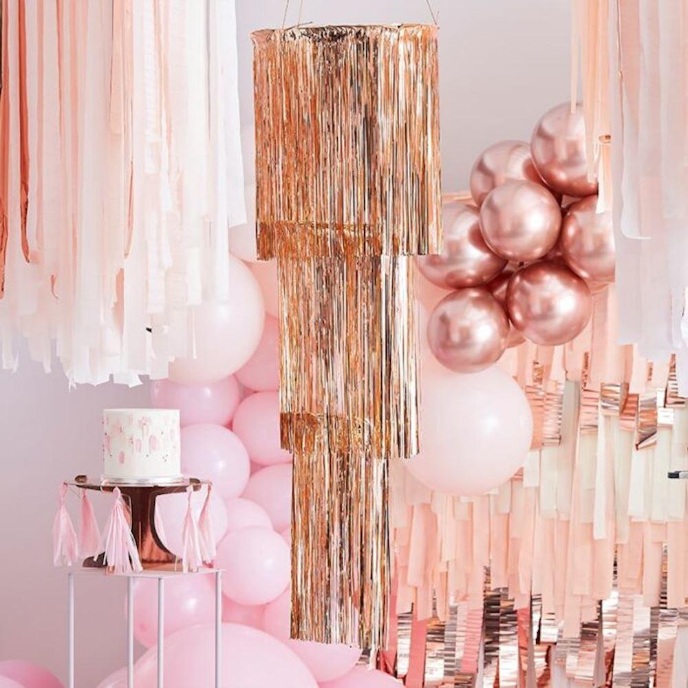 Rose Gold Fringe Chandelier - 3 Tier Party Decoration