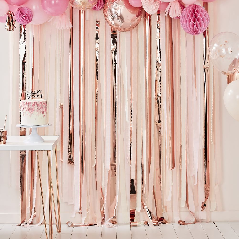 Rose Gold Pink Peach Party Streamer Backdrop - Party Decoration