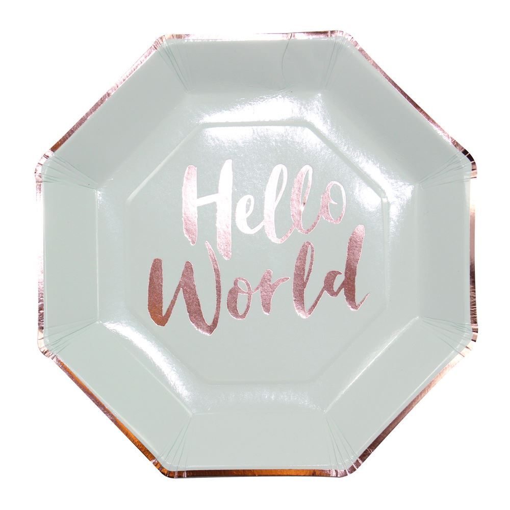 8 Hello World Paper Plates, Rose Gold Baby Shower, Mint and Rose Gold Party Plates, Baby Shower Plates, Gender Reveal Neutral Party Plates