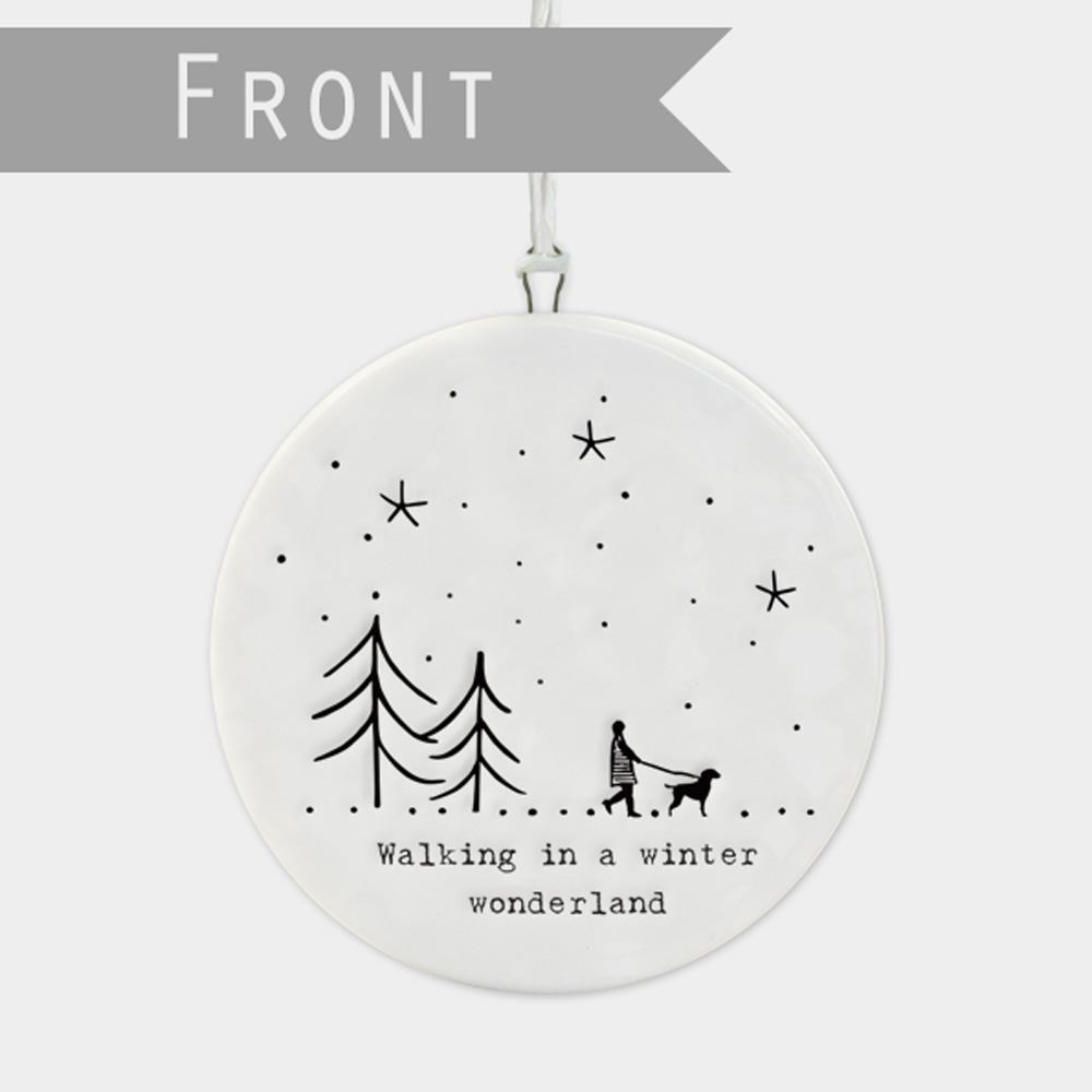 East-of-India-Flat-Christmas-Bauble-hanging-decoration-porcelain-gifts thumbnail 34