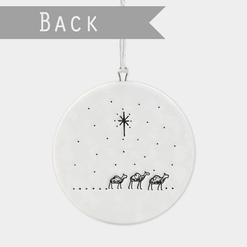 East-of-India-Flat-Christmas-Bauble-hanging-decoration-porcelain-gifts thumbnail 4