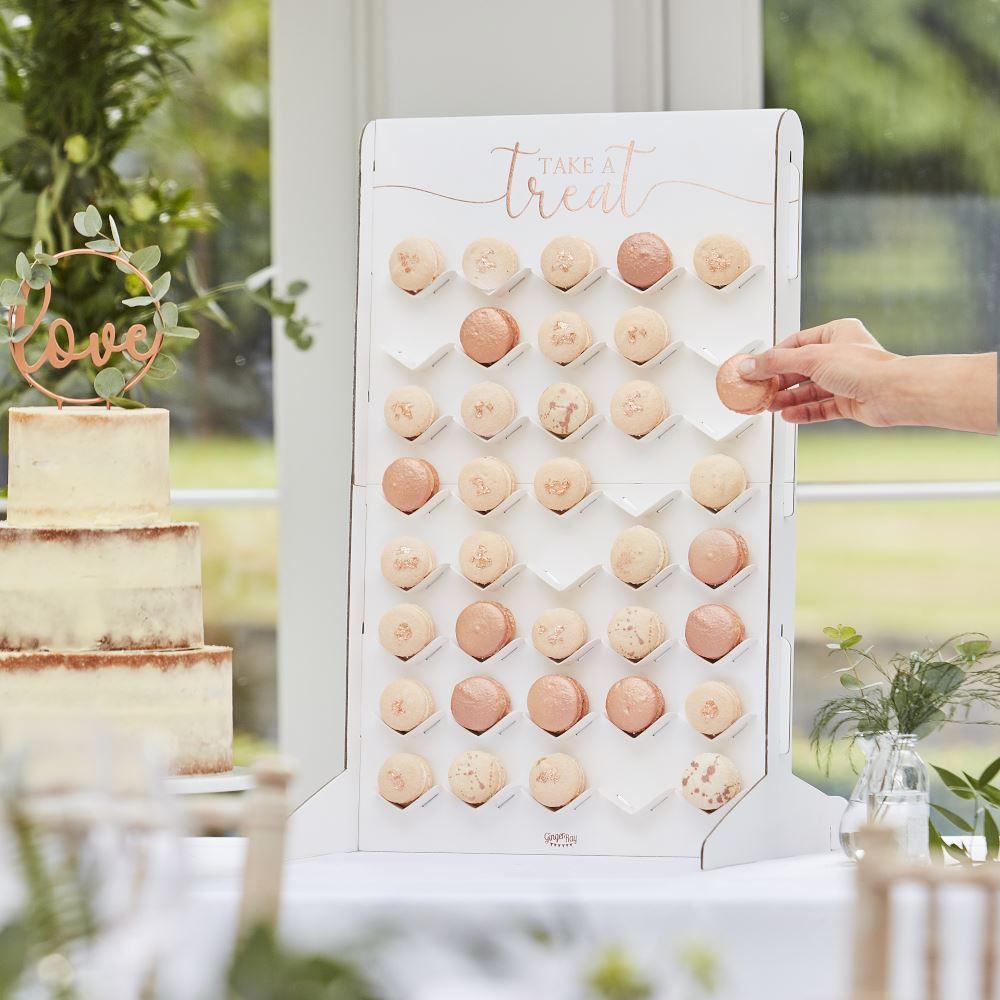 Macaron Stand Treat Wall Holder, Rose Gold Treat Stand, Macaron Display, Party Buffet, Wedding Cake Alternative, Sweet Bar, Food Display
