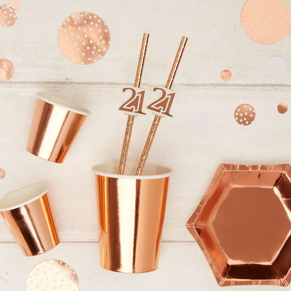 Rose Gold 21st Birthday Party Paper Straws x 10