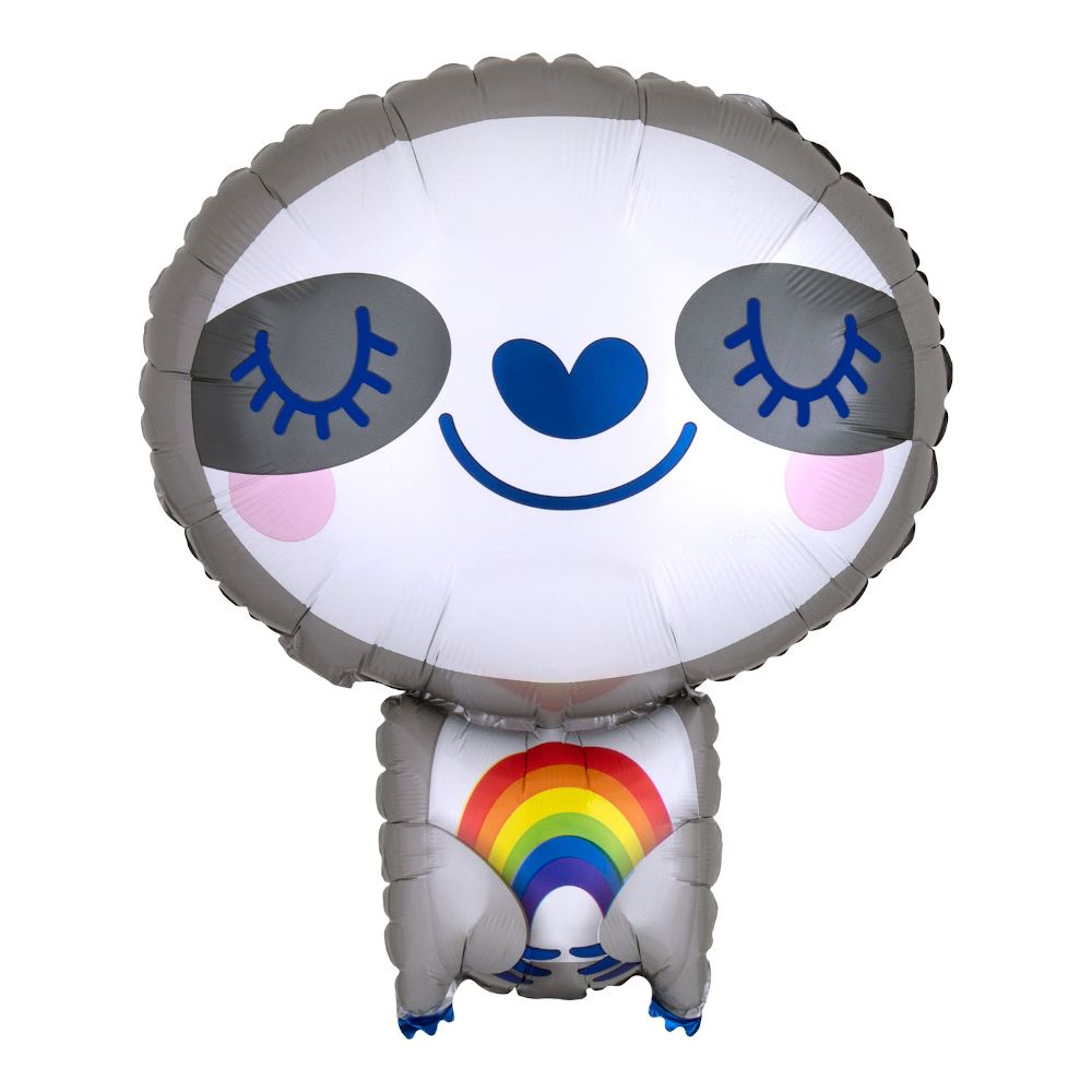Sloth With Rainbow Foil Party Balloon