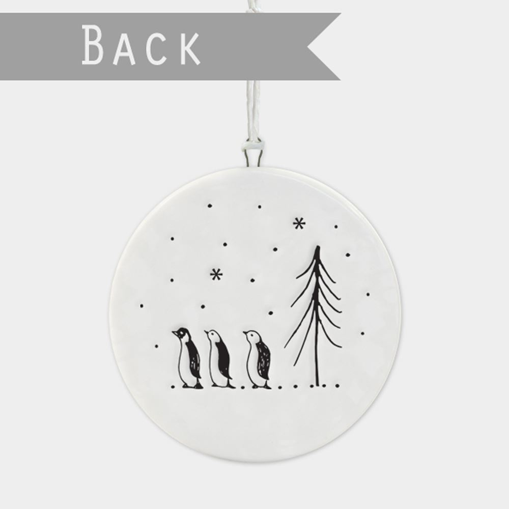 East-of-India-Flat-Christmas-Bauble-hanging-decoration-porcelain-gifts thumbnail 20