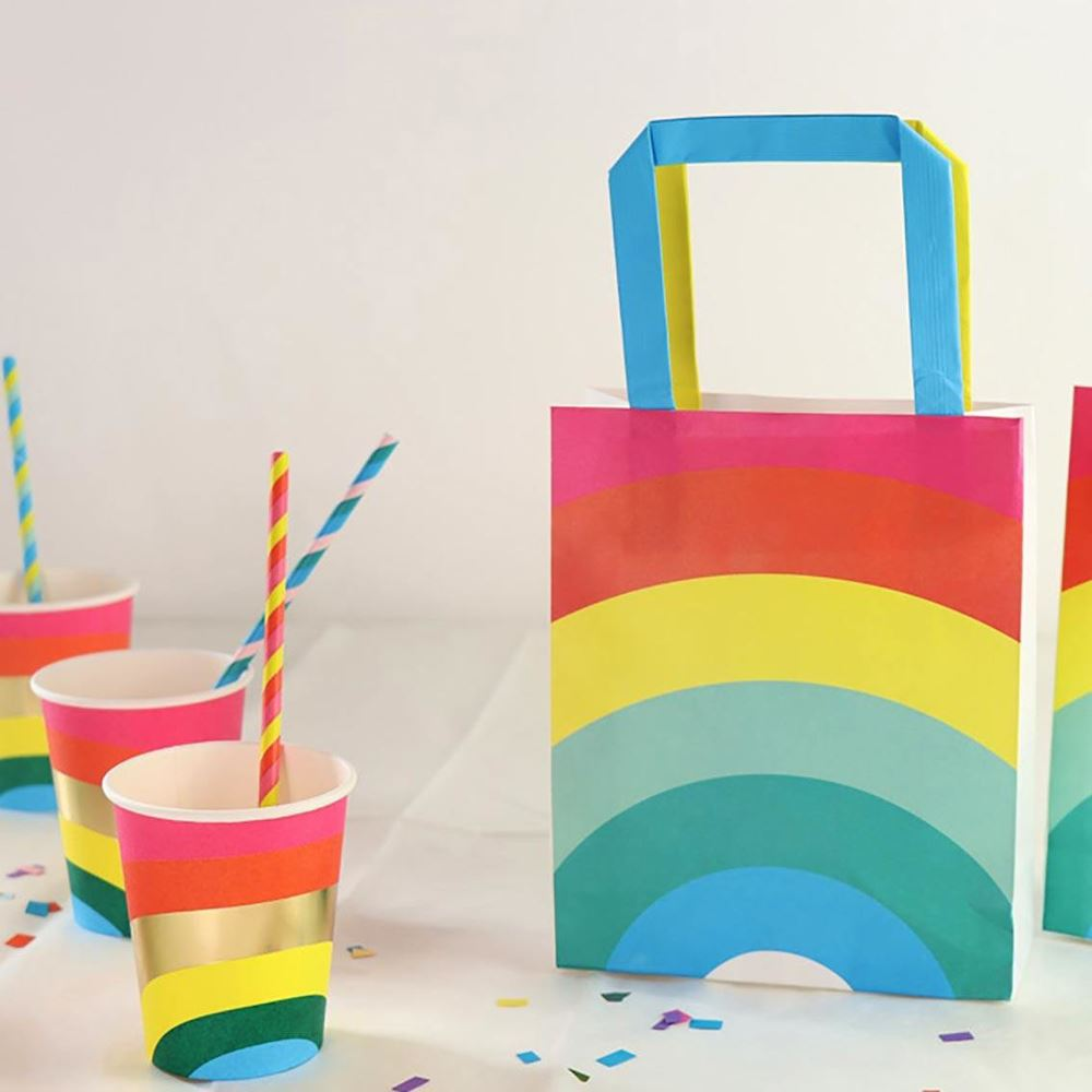 8 Birthday Brights Rainbow Treat Bag Party Bags, Rainbow Birthday Party, Rainbow Gift Bags, Rainbow Treat Bags, Childrens Party Bags