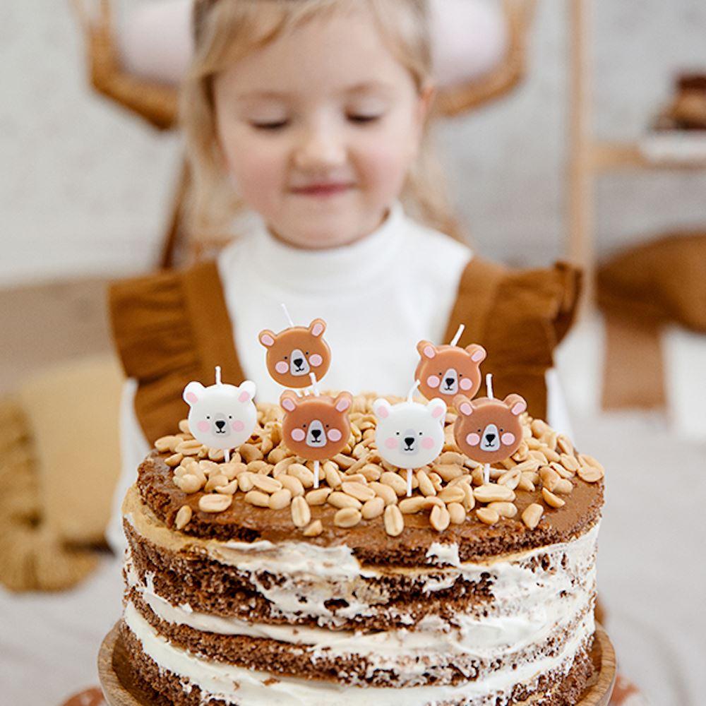 Teddy Bear Birthday Candles - Cake Decoration x 6