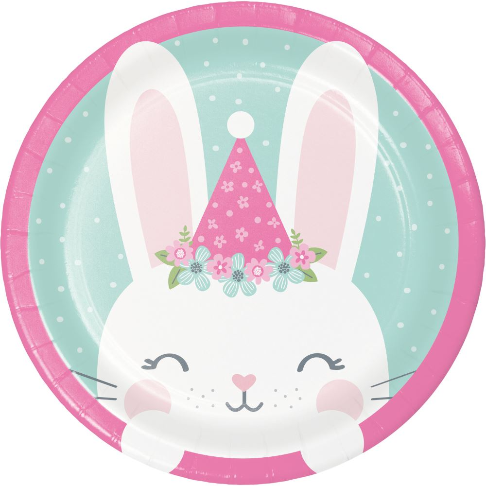 Small Cute Birthday Bunny Paper Party Cake Plates x 8