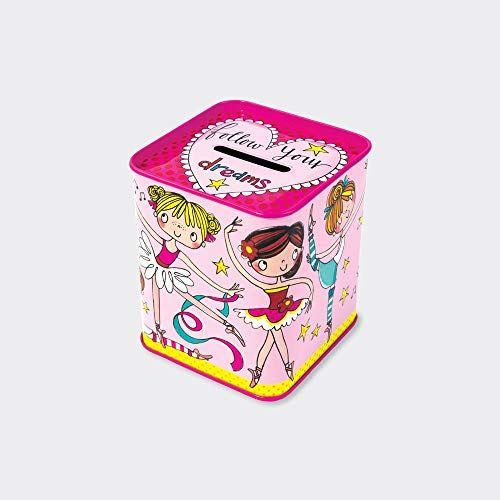 Girls Money Box, Pink Ballerina Childrens Gift, Girls Birthday Piggy Bank, Girls Moneybank -Follow Your Dreams Pink Ballerina Childrens Gift