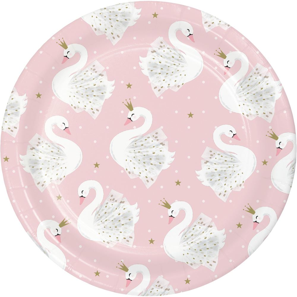 Swan Princess Paper Party Plates - Small x 8