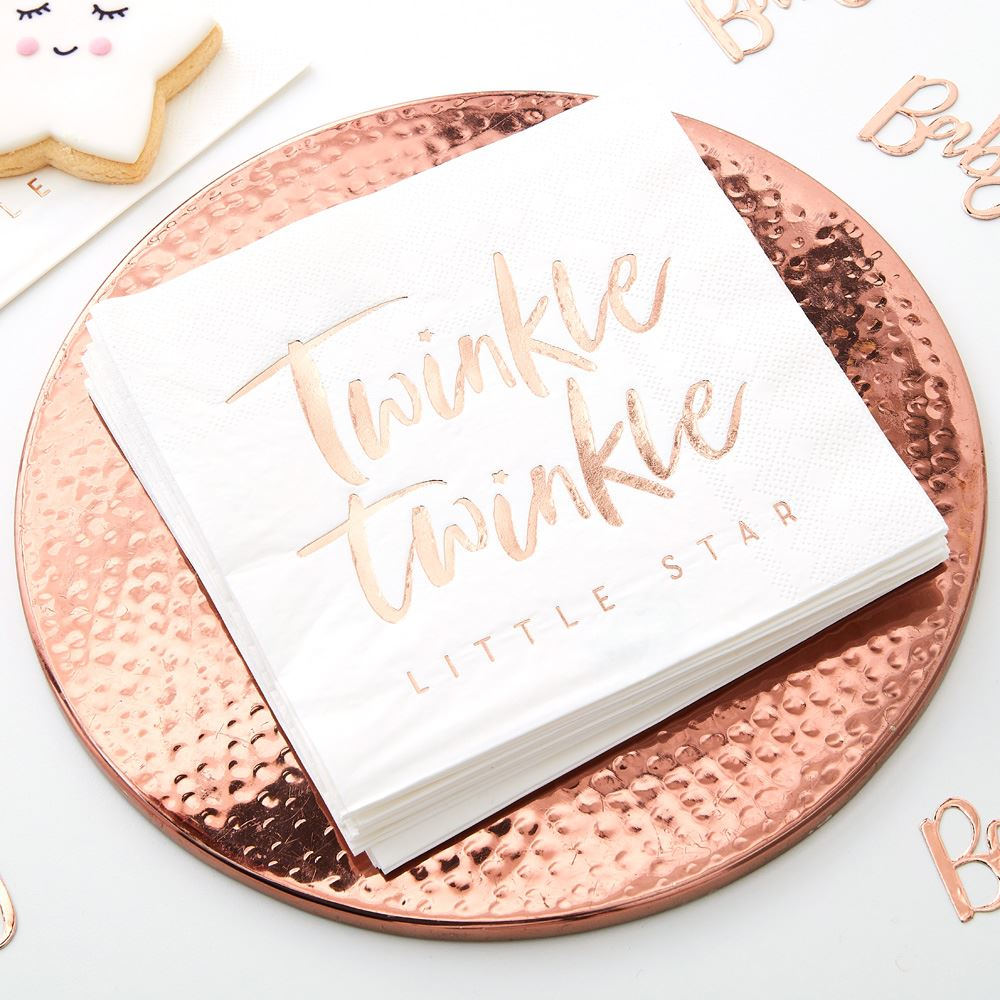 Rose Gold Twinkle Party Paper Napkins x 16 - Baby Shower