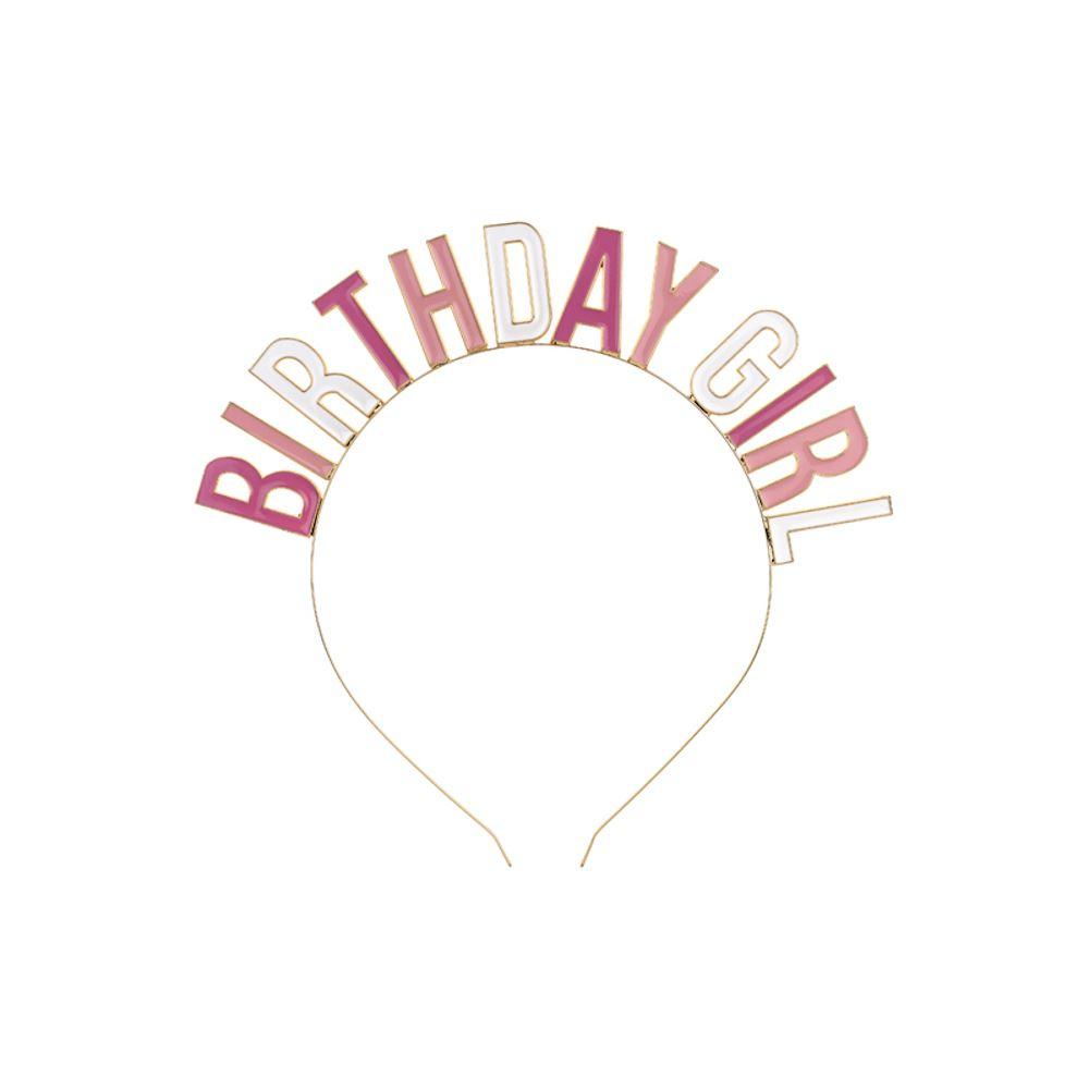 Pink Birthday Girl Metal Headband, Birthday Girl Crown, Gold Tiara, Birthday Party Accessory, Milestone Age Zoom Birthday Girls Gift