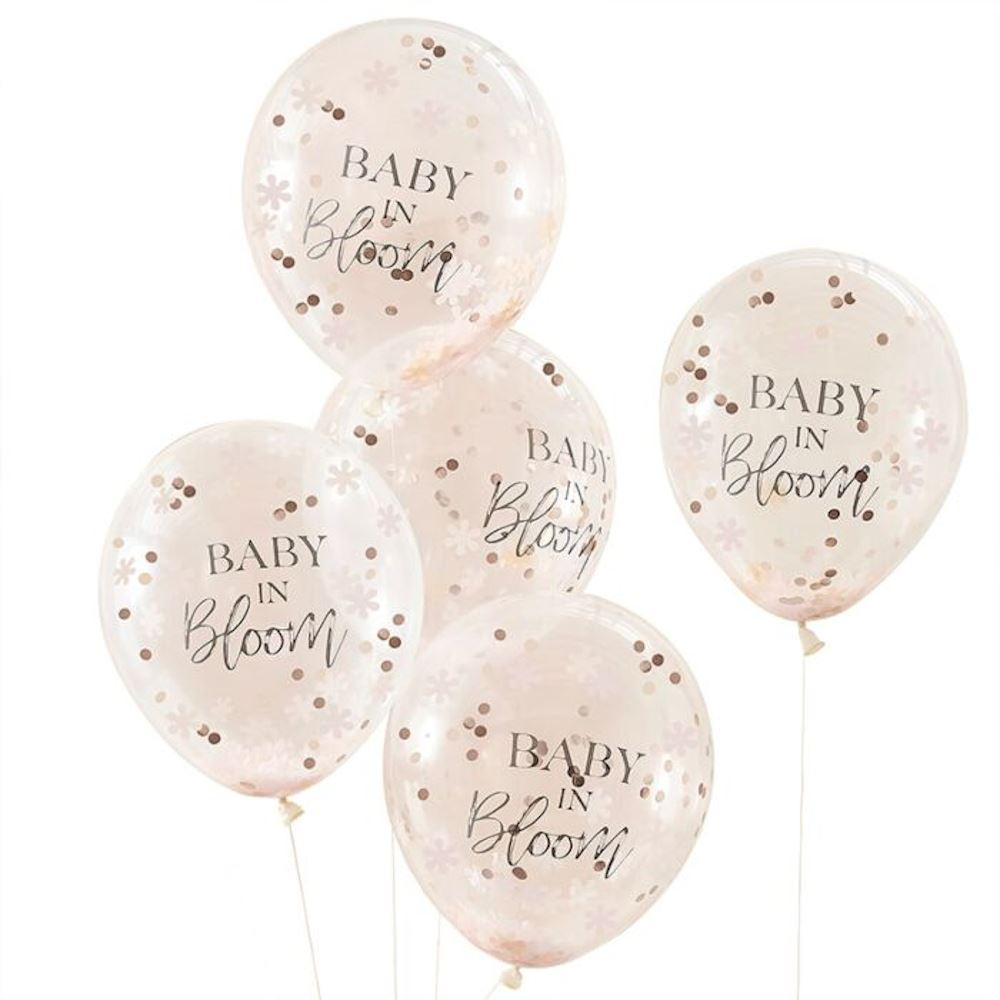 5 Floral Confetti Baby In Bloom Balloons, Rose Gold Baby Shower, Neutral Baby Shower, Party Balloons, Baby Shower Decorations, New Baby