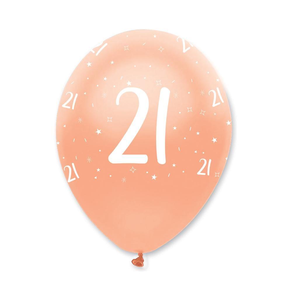 Rose Gold Age 21 Birthday Balloons x 6