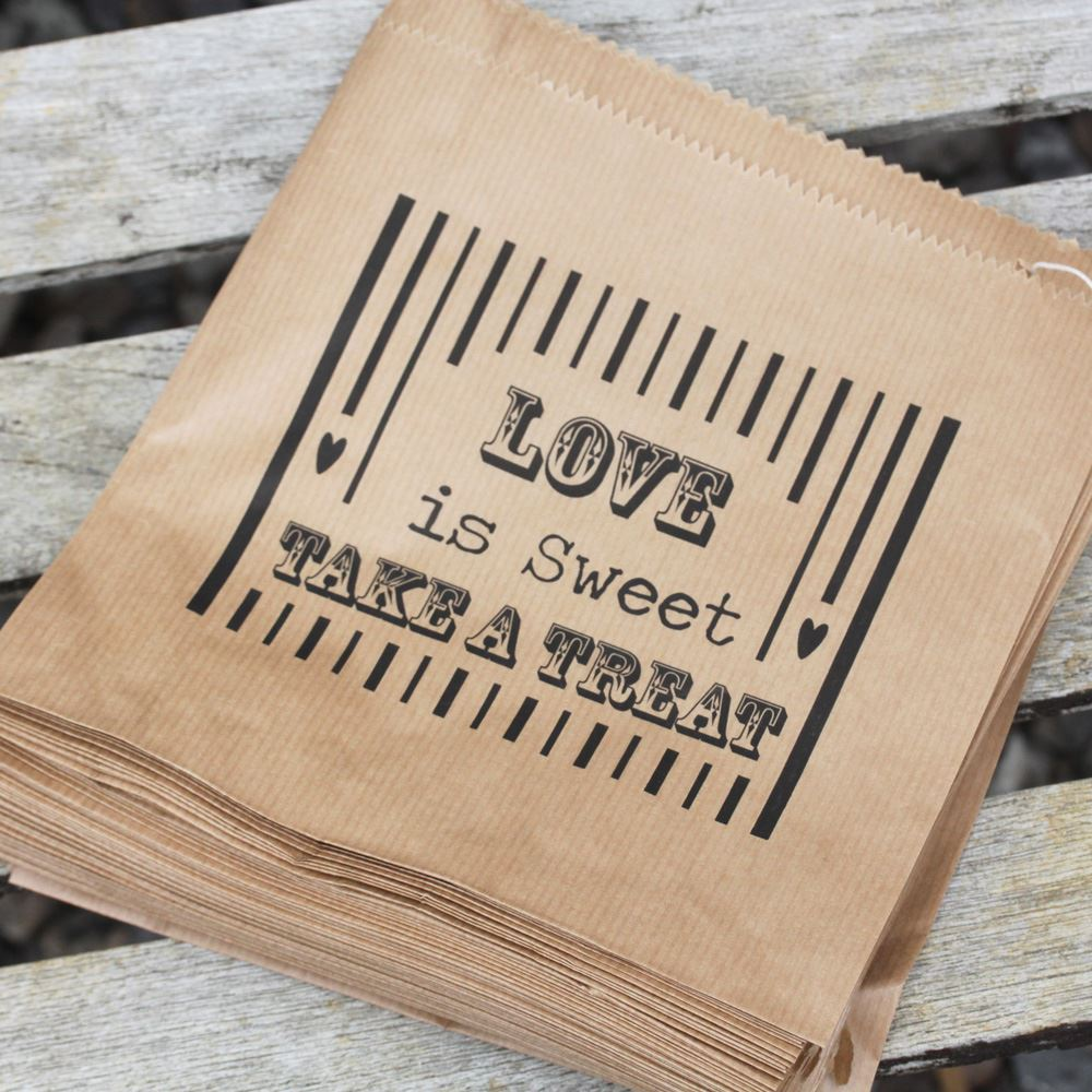 Luck And Luck Kraft 'Love Is Sweet' Bag x 90 - Wedding Candy Favours